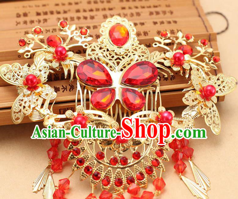 Top Grade Chinese Ancient Peking Opera Hair Accessories Diva Xiuhe Suit Wedding Hairpins Step Shake, Traditional Chinese Beijing Opera Hua Tan Hair Clasp Head-ornaments