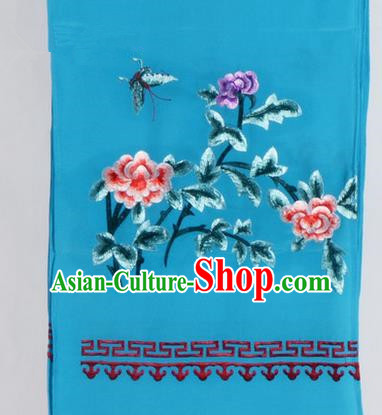 Top Grade Chinese Ancient Peking Opera Accessories Diva Embroidered Belts, Traditional Chinese Beijing Opera Hua Tan Blue Waist Towel