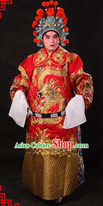 Traditional Chinese Beijing Opera Emperor Clothing and Headwear Complete Set, China Peking Opera His Royal Highness Embroidered Dragon Robe Red Opera Costumes
