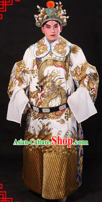 Traditional Chinese Beijing Opera Emperor Clothing and Headwear Complete Set, China Peking Opera His Royal Highness Embroidered Dragon Robe White Opera Costumes