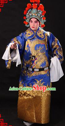 Traditional Chinese Beijing Opera Emperor Clothing and Headwear Complete Set, China Peking Opera His Royal Highness Embroidered Dragon Robe Blue Opera Costumes