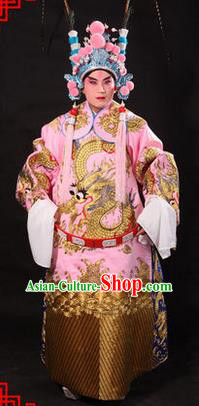 Traditional Chinese Beijing Opera Emperor Clothing and Headwear Complete Set, China Peking Opera His Royal Highness Embroidered Dragon Robe Pink Opera Costumes