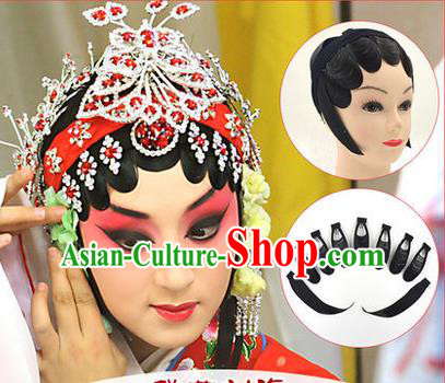 Top Grade Chinese Ancient Peking Opera Hair Temples Wigs, Traditional Chinese Beijing Opera Hua Tan Head-ornaments