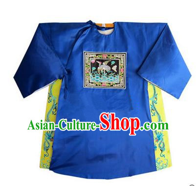 Traditional Chinese Beijing Opera Shaoxing Opera Magistrate Clothing, China Peking Opera Blue Embroidered Robes