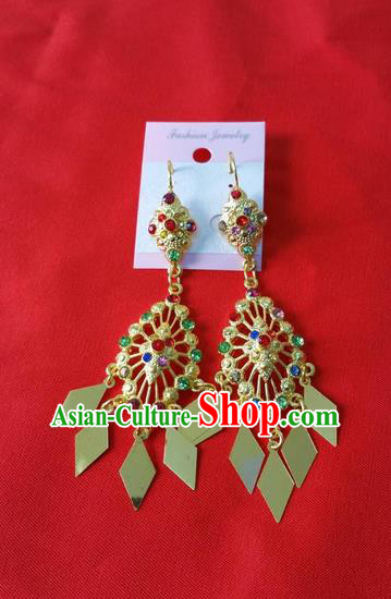 Traditional Traditional Thailand Jewelry Accessories Earrings, Southeast Asia Thai Eardrops for Women
