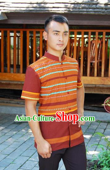 Traditional Traditional Thailand Male Clothing, Southeast Asia Thai Ancient Costumes Dai Nationality Coffee Shirt for Men