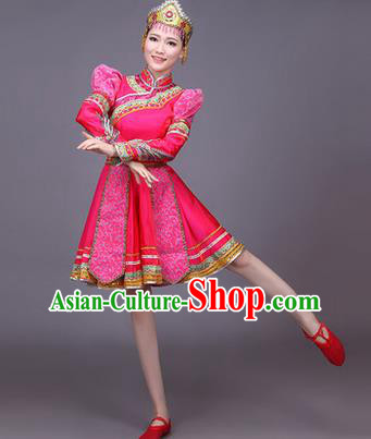 Traditional Chinese Mongol Nationality Dance Costume, Mongols Female Folk Dance Ethnic Pleated Skirt, Chinese Mongolian Minority Nationality Embroidery Pink Short Dress for Women