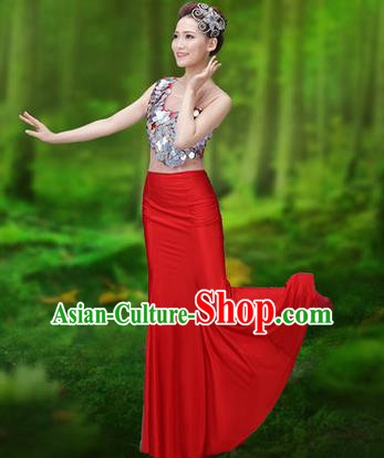 Traditional Chinese Dai Nationality Peacock Dance Costume, Folk Dance Ethnic Pavane Clothing, Chinese Minority Nationality Dance Red Dress for Women
