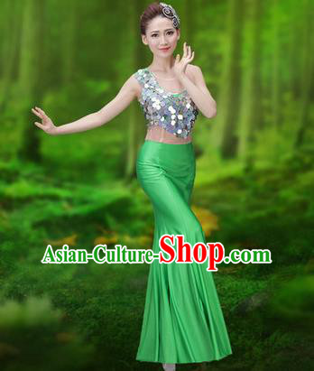 Traditional Chinese Dai Nationality Peacock Dance Costume, Folk Dance Ethnic Pavane Clothing, Chinese Minority Nationality Dance Green Dress for Women