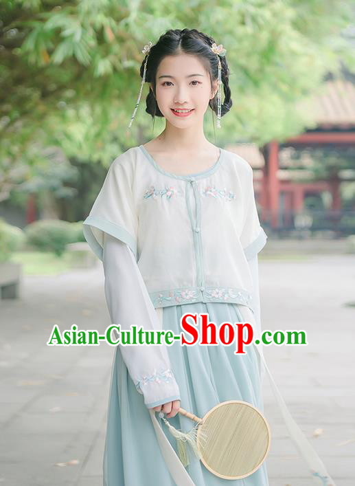 Traditional Chinese Song Dynasty Young Lady Costume, Elegant Hanfu Clothing Embroidered Blouse and Skirts, Chinese Ancient Princess Dress for Women