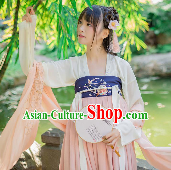 Traditional Chinese Tang Dynasty Palace Princess Embroidered Hanfu Pink Wide Wearing Silks for Women