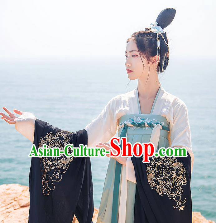 Traditional Chinese Tang Dynasty Palace Princess Embroidered Hanfu Black Wide Wearing Silks for Women