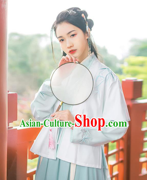 Traditional Chinese Ming Dynasty Young Lady Costume, Elegant Hanfu Clothing Embroidered Bamboo leaves Cardigan Blouse and Green Skirts, Chinese Ancient Princess Dress for Women
