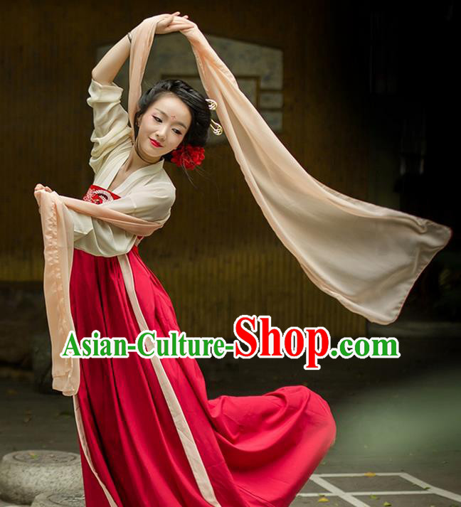 Traditional Chinese Tang Dynasty Palace Princess Dusty Pink Long Ribbons Wearing Silks for Women