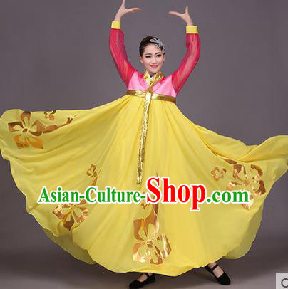 Traditional Korean Nationality Dance Costume, Chinese Minority Nationality Embroidery Hanbok Yellow Big Swing Dress for Women