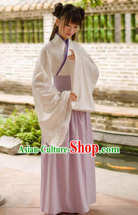 Traditional Chinese Han Dynasty Palace Princess Costume, Elegant Hanfu Clothing Light Purple Middle-Skirt, Chinese Ancient Princess Clothing for Women
