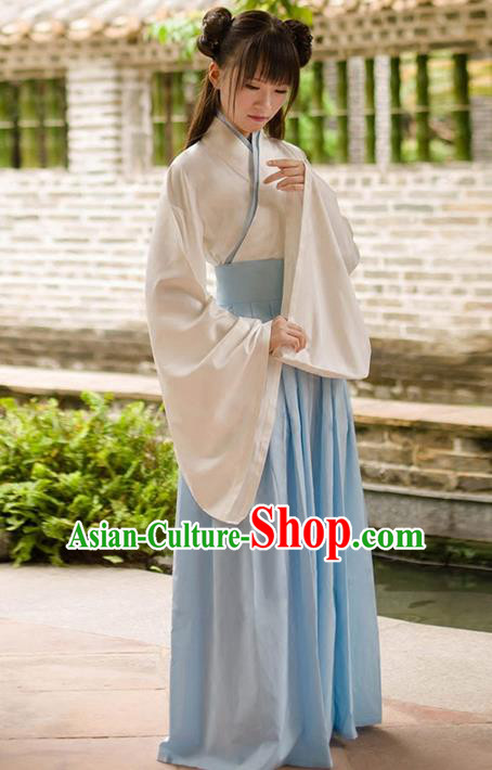 Traditional Chinese Han Dynasty Palace Princess Costume, Elegant Hanfu Clothing Light Blue Middle-Skirt, Chinese Ancient Princess Clothing for Women