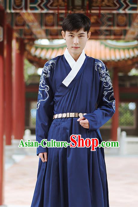 Traditional Chinese Ming Dynasty Imperial Guards Embroidery Costume, Elegant Hanfu Flying Fish Clothing Chinese Ancient Swordsman Dress for Men