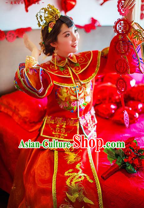 Traditional Chinese Wedding Costume Xiuhe Suits Wedding Bride Red Suit, Ancient Chinese Toast Dress Embroidered Dragon and Phoenix Clothing Longfeng Flown for Women