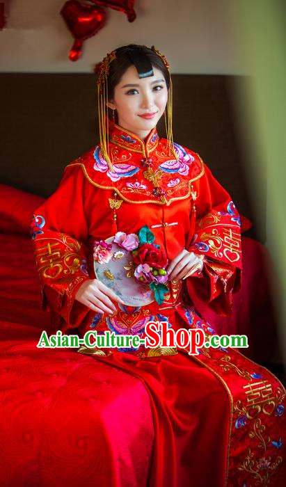 Traditional Chinese Wedding Costume Xiuhe Suits Wedding Red Suit, Ancient Chinese Bride Toast Dress Hand Embroidered Butterfly Flowers Clothing Longfeng Flown for Women