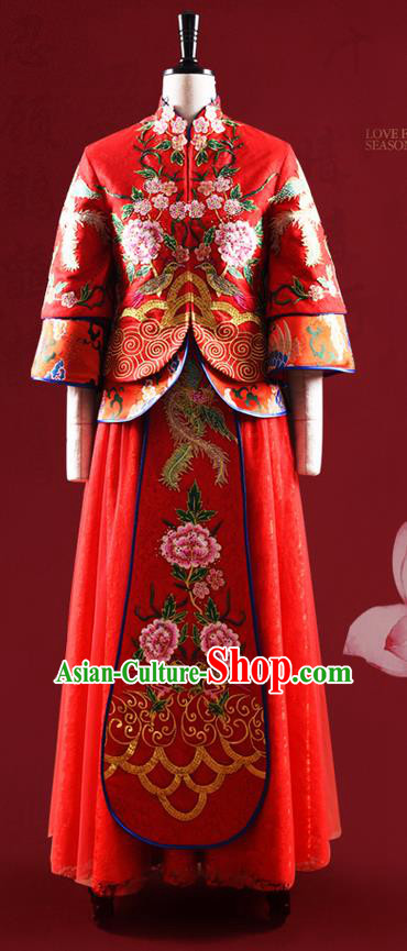 Traditional Chinese Wedding Costume XiuHe Suit Clothing Dragon and Phoenix Flown, Ancient Chinese Bride Embroidered Peony Cheongsam Dress for Women