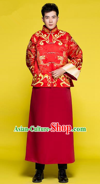 Traditional Chinese Wedding Costume Tang Suits Wedding Red Clothing, Ancient Chinese Bridegroom Toast Embroidered Long Flown for Men