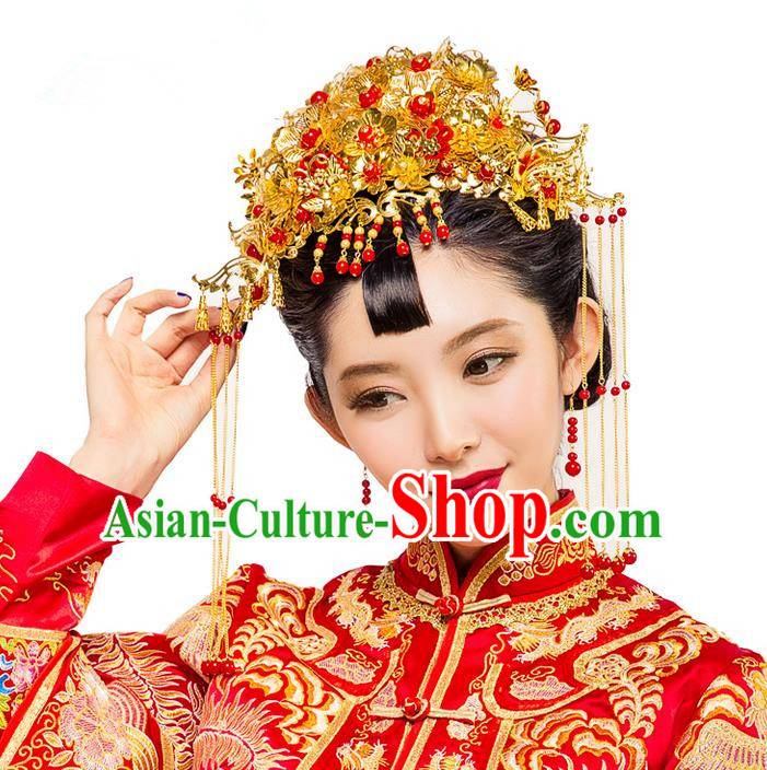 Traditional Chinese Wedding Xiuhe Suit Hair Accessories Hair Comb, Cnina Style Hanfu Phoenix Coronet Tassel Step Shake, Ancient Chinese Bride Hairpins Head Ornament for Women