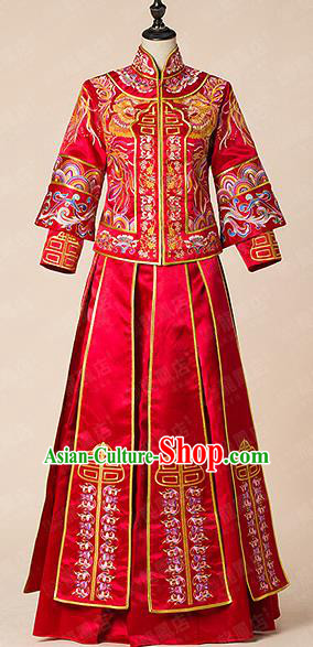 Traditional Chinese Wedding Costume Xiuhe Wedding Clothing Longfeng Flown, Ancient Chinese Bride Toast Hand Embroidered Dragon and Phoenix Full Dress for Women