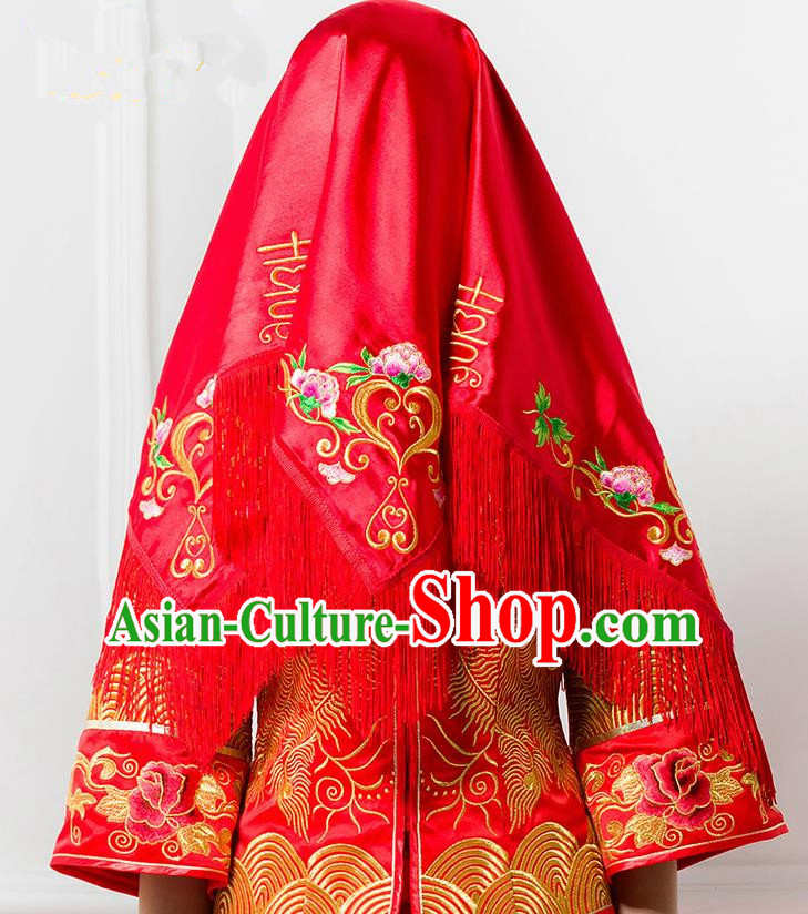 Traditional Chinese Wedding Costume Xiuhe Red Bridal Veil, Ancient Chinese Bride Embroidered Peony Tassel Red Head Cover for Women