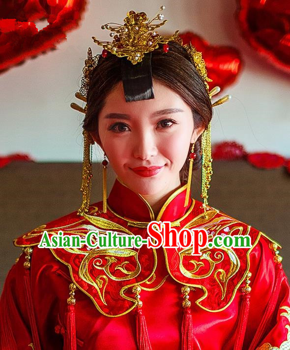 Traditional Chinese Wedding Xiuhe Suit Hair Accessories, Cnina Style Hanfu Phoenix Crown Tassel Step Shake, Ancient Chinese Bride Hairpins for Women