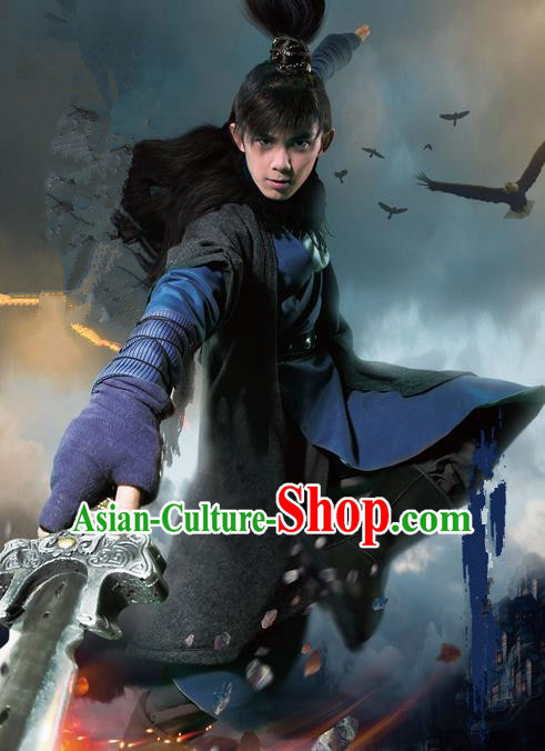 Traditional Chinese Song Dynasty Young Hero Costume, Chinese Ancient Hanfu Swordsman Clothing for Men