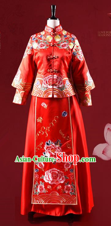 Traditional Chinese Wedding Costume XiuHe Suit Clothing Dragon and Phoenix Flown Bottom Drawer, Ancient Chinese Bride Embroidered Cheongsam Dress for Women