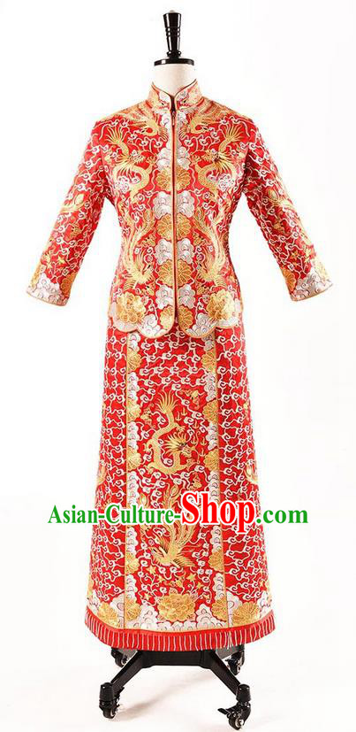 Traditional Chinese Wedding Costume XiuHe Suit Clothing Longfeng Flown Slim Wedding Dress, Ancient Chinese Bride Hand Embroidered Phoenix Cheongsam Dress for Women