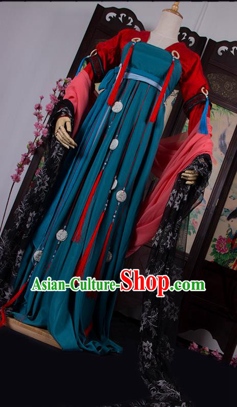 Traditional Chinese Tang Dynasty Young Lady Costume, Elegant Hanfu Cosplay Princess Clothing Ancient Chinese Dress for Women
