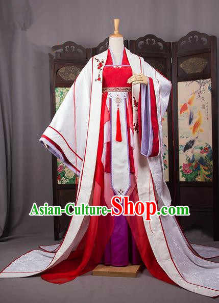 Traditional Chinese Han Dynasty Imperial Princess Costume, Elegant Hanfu Cosplay Peri Clothing Ancient Chinese Infanta Dance Dress for Women