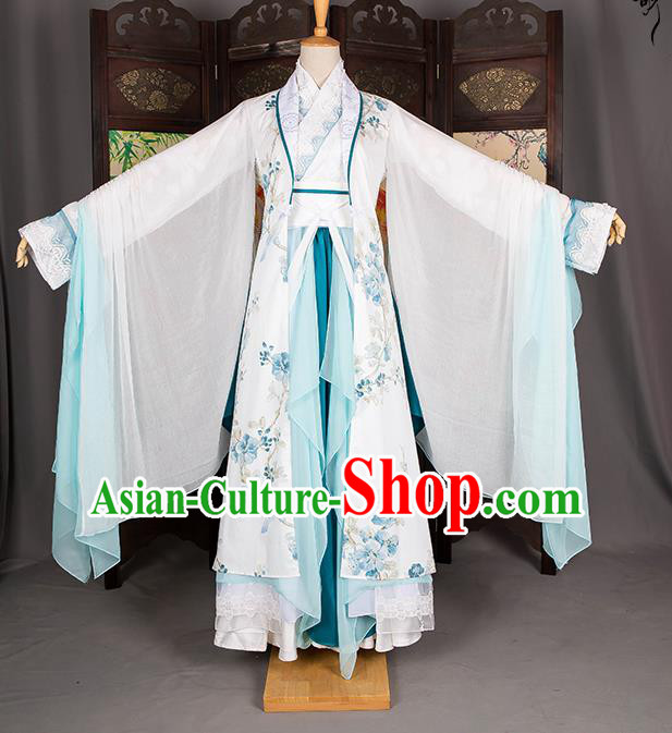 Traditional Chinese Han Dynasty Fairy Costume, Elegant Hanfu Cosplay Peri Clothing Ancient Chinese Imperial Princess Dance Dress for Women