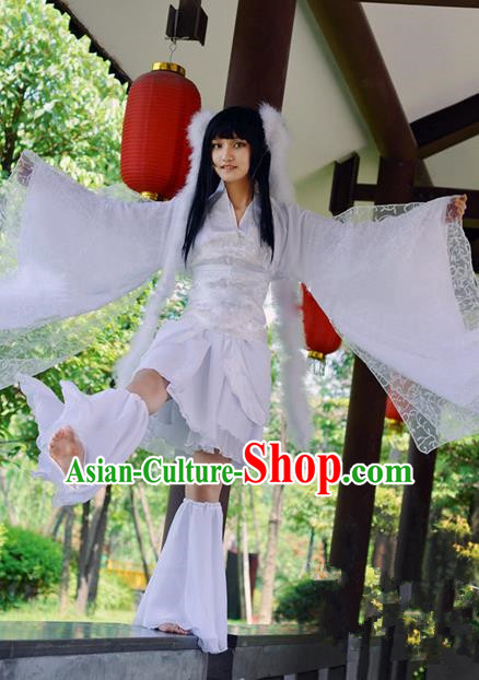 Traditional Chinese Cosplay Funsbau Costume, Chinese Ancient Hanfu Han Dynasty Young Lady Dance Clothing for Women
