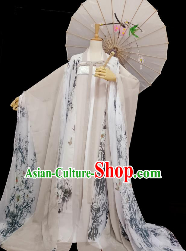 d98ad3f4d Traditional Chinese Tang Dynasty Imperial Princess Costume, Elegant Hanfu  Clothing Blouse and Skirts, Chinese Ancient Young Lady Printing Magnolia  Dress for ...