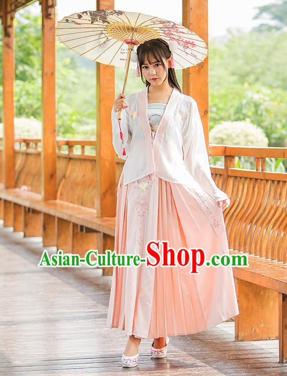 Traditional Chinese Tang Dynasty Young Lady Costume, Elegant Hanfu Clothing Embroidered Boob Tube Top Blouse and Skirt, Chinese Ancient Imperial Princess Dress for Women