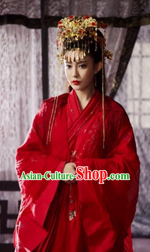 Traditional Ancient Chinese Wedding Bride Costume and Headwear Complete Set, The Legend of the Condor Heroes Chinese Song Dynasty Princess Hanfu Dress Clothing for Women