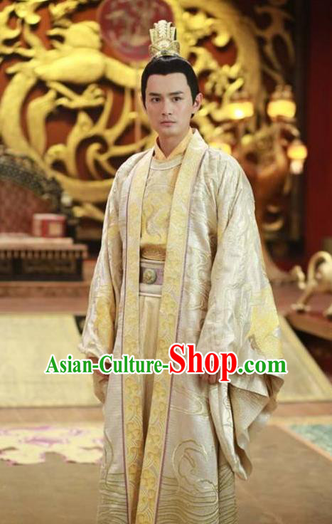 Traditional Ancient Chinese Imperial Emperor Costume and Headwear Complete Set, Elegant Chinese Tang Dynasty King Embroidered Dragon Robe for Men