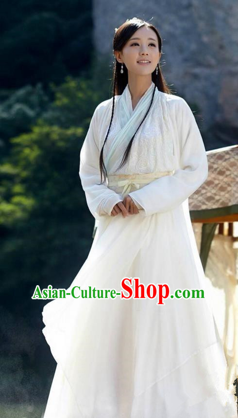 Traditional Ancient Chinese Peri Costume and Headwear Complete Set, The Legend of the Condor Heroes Chinese Song Dynasty Huang Rong Hanfu White Dress Clothing for Women