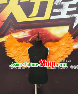 Top Grade Compere Professional Performance Catwalks Halloween Orange Feather Wings, Traditional Brazilian Rio Carnival Dance Fancywork Clothing for Kids