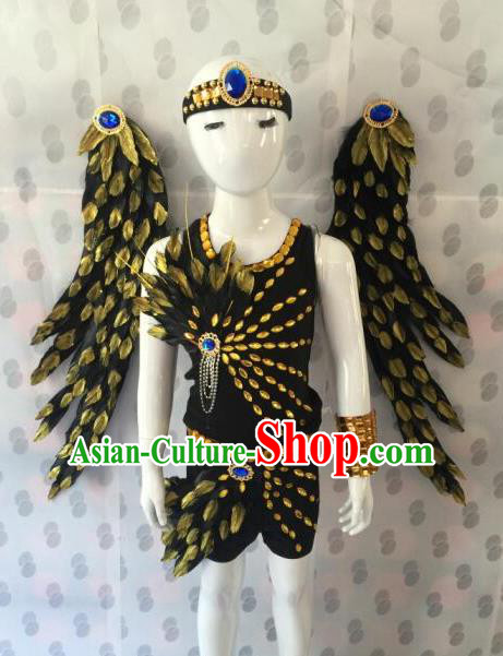 Top Grade Compere Professional Performance Catwalks Costumes, Traditional Brazilian Rio Carnival Dance Feather Fancywork Swimsuit Clothing for Kids