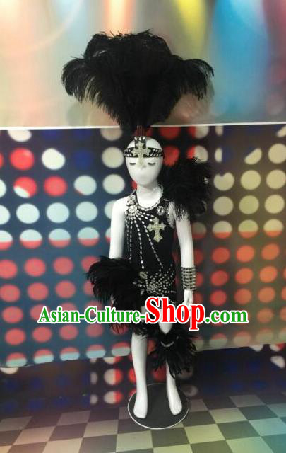Top Grade Compere Professional Performance Catwalks Black Feather Costumes and Headpiece, Traditional Brazilian Rio Carnival Samba Opening Dance Swimsuit Clothing for Kids
