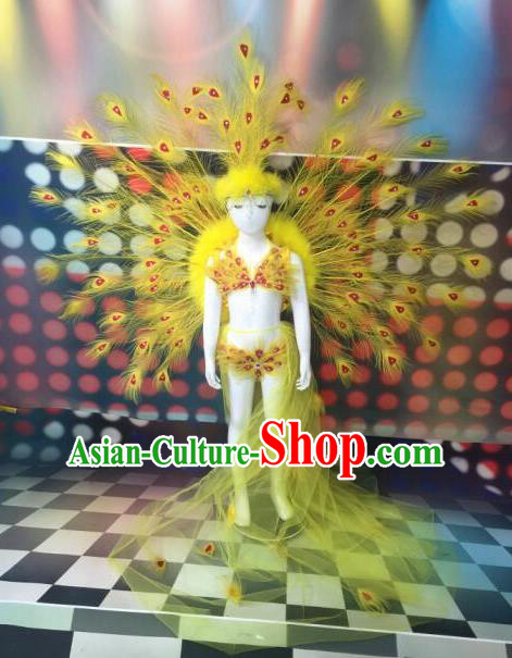 Top Grade Compere Professional Performance Catwalks Yellow Peacock Feather Costumes, Traditional Brazilian Rio Carnival Samba Opening Dance Props Modern Fancywork Swimsuit Clothing for Kids