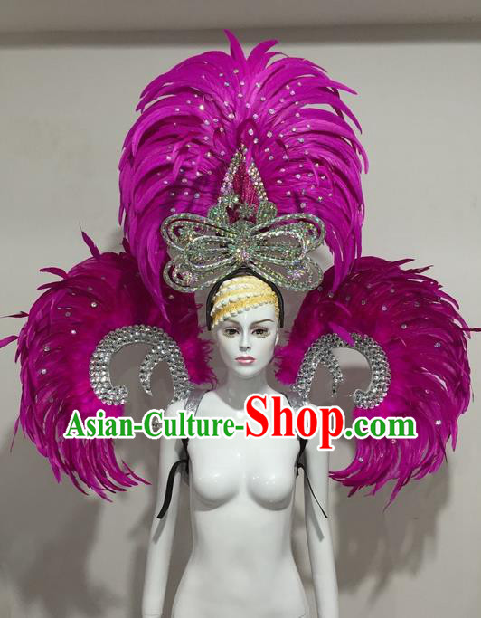 Top Grade Compere Professional Performance Catwalks Purple Feather Wings and Headpiece Big Hair Accessories Decorations, Traditional Brazilian Rio Carnival Samba Opening Dance Suits Modern Fancywork Swimsuit Clothing for Women