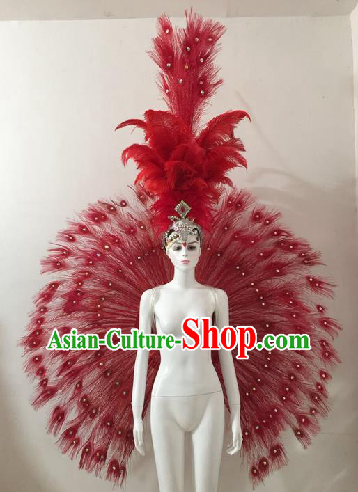 Top Grade Compere Professional Performance Catwalks Red Feather Wings Costume and Headpiece, Traditional Brazilian Rio Carnival Samba Opening Dance Suits Clothing for Women