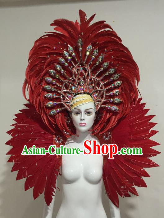 Top Grade Compere Professional Performance Catwalks Red Feather Costume and Headpiece, Traditional Brazilian Rio Carnival Samba Opening Dance Suits Modern Fancywork Clothing for Women