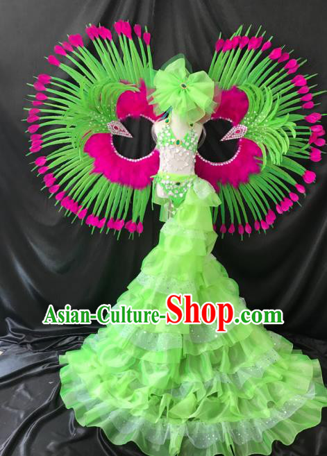 Top Grade Professional Performance Catwalks Swimsuit Costume and Headpiece, Children Modern Dance Modern Fancywork Long Trailing Green Dress for Kids